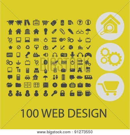 100 web design icons set, vector