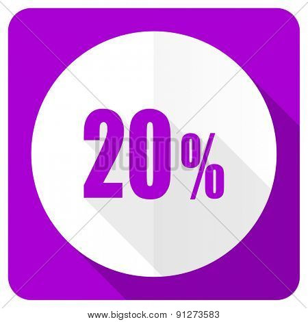 20 percent pink flat icon sale sign
