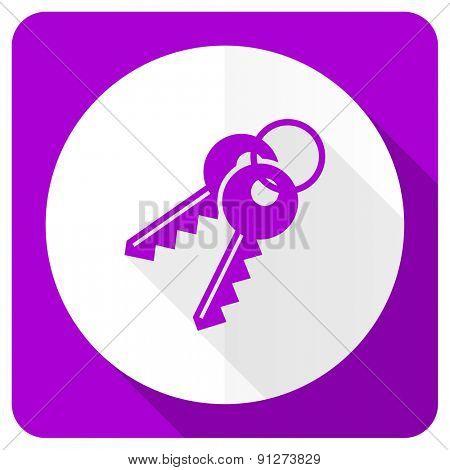 keys pink flat icon