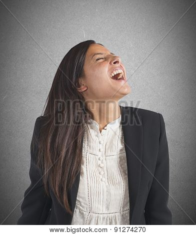 Crazy  businesswoman screams