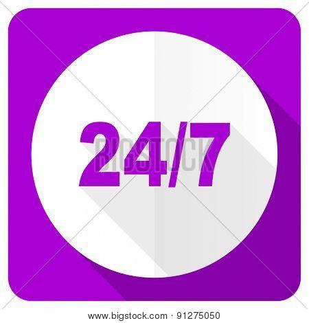 24/7 pink flat icon