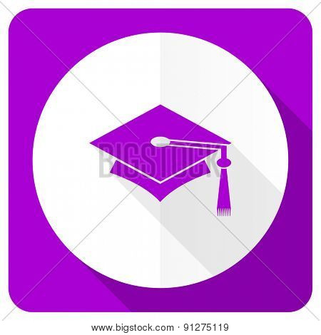 education pink flat icon graduation sign