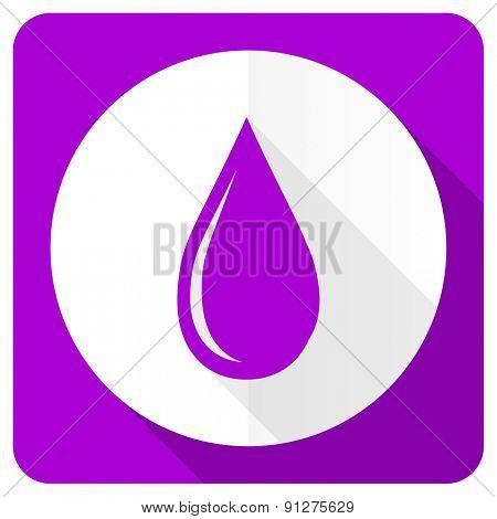 water drop pink flat icon