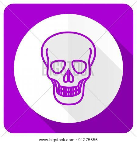 skull pink flat icon death sign