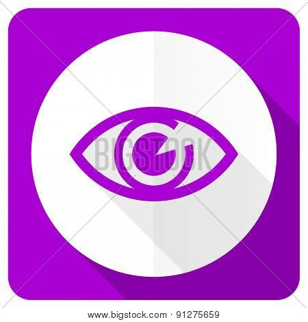 eye pink flat icon view sign