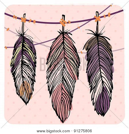 Pastel Feather Set