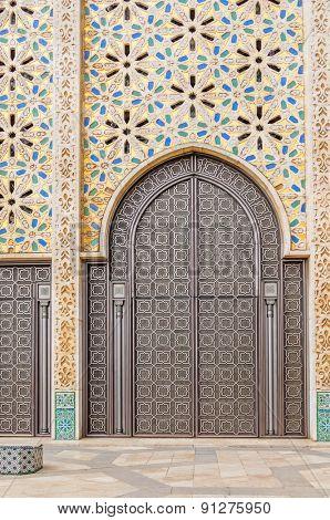 Hassan II Mosque in Casablanca, Morocco - gate made in titanium