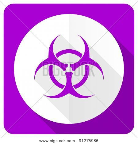 biohazard pink flat icon virus sign