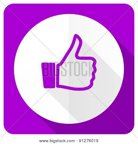 like pink flat icon thumb up sign