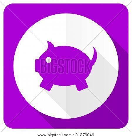 piggy bank pink flat icon