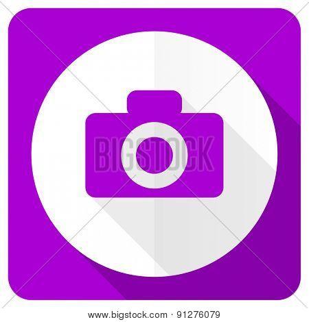 camera pink flat icon