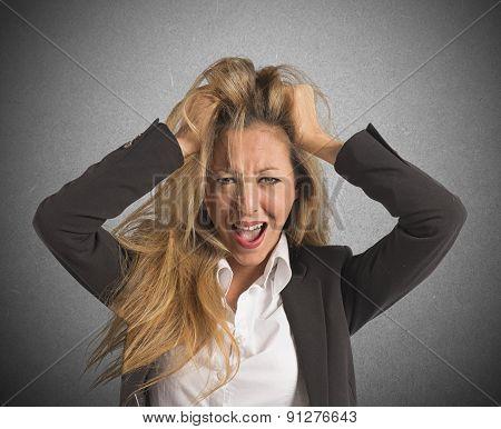 Businesswoman screaming desperate