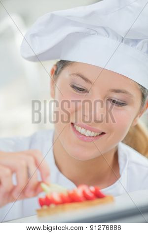 Lady chef at work