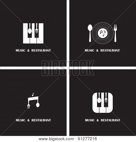 Creative Music And Restaurant Icon Abstract Logo Design Vector Template.