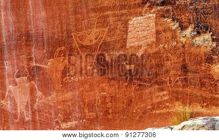 Native American Indian Fremont Petroglyphs Sandstone Mountain Capitol Reef National Park Torrey Utah