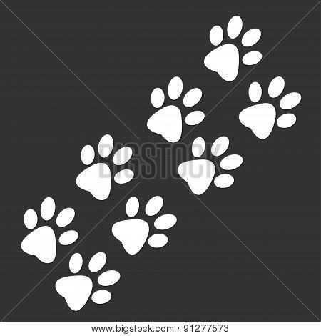 Traces of paws of an animal on black background