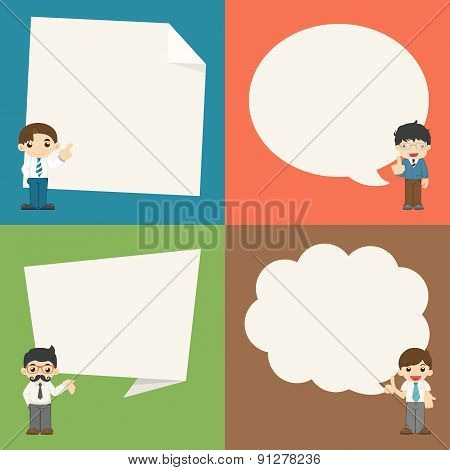 Set Of Businessman With Speech Bubbles Character