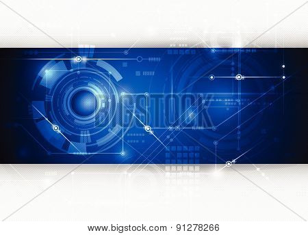 Vector Illustration  Hi-tech Blue Abstract Technology Background