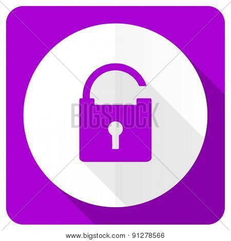 padlock pink flat icon secure sign