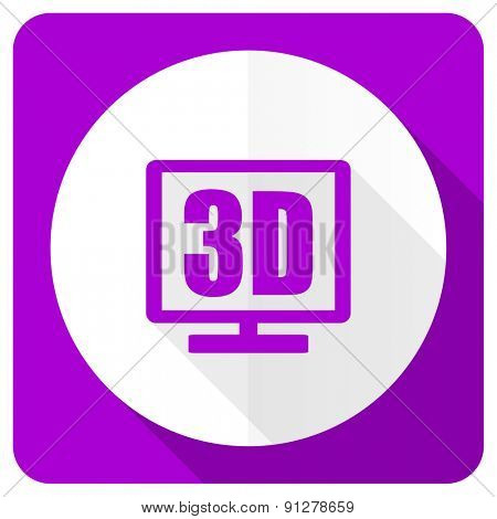 3d display pink flat icon