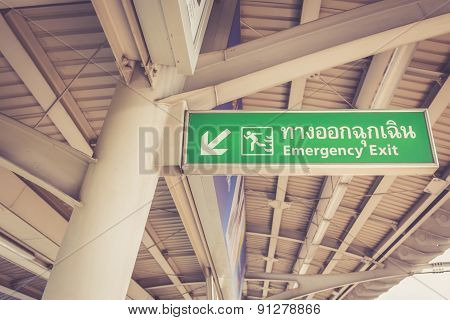 Emergency Exit Sign In Skytrain Station