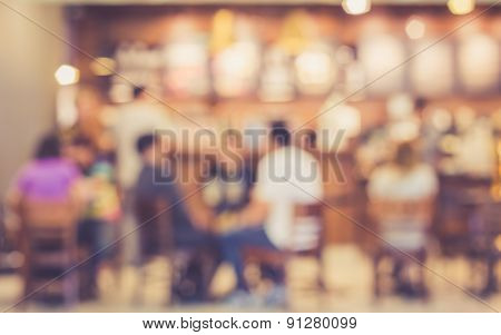 Blurred Image Of People In Coffee Shop At The Airport