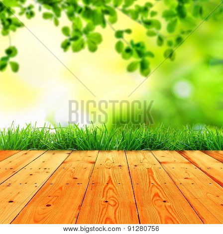 Fresh Spring Green Grass With Green Bokeh And Sunlight And Wood Floor. Beauty Natural Background