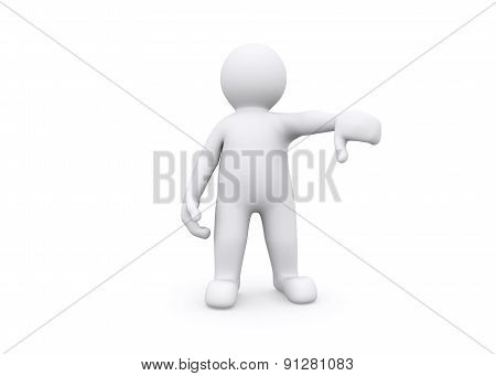 3D illustration of blank figure show thump down no.