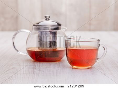 Healthy hot  tea on a wooden table