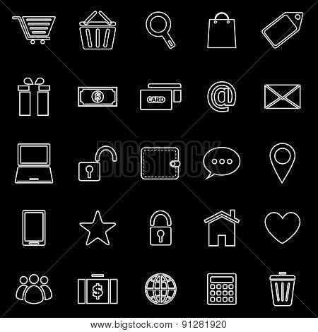 Ecommerce Line Icons On Black Background