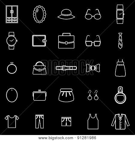 Dressing Line Icons On Black Background