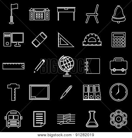 School Line Icons On Black Background