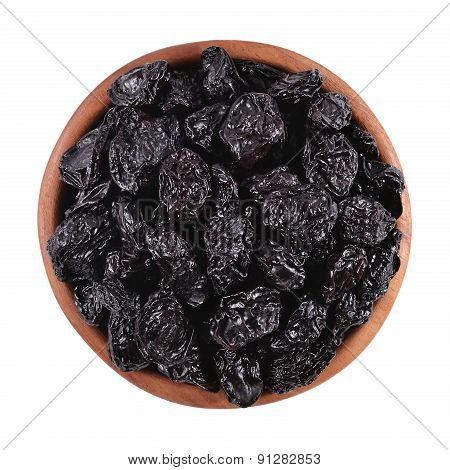 Prunes In A Wooden Bowl