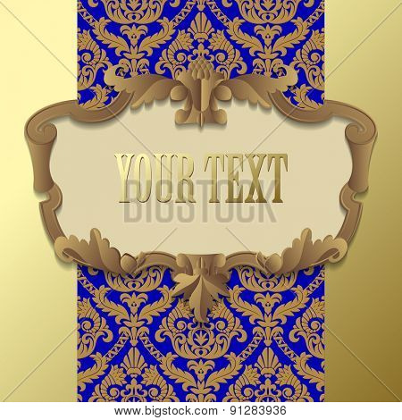Paper beige baroque frame against a gold blue vintage background. Vector illustration