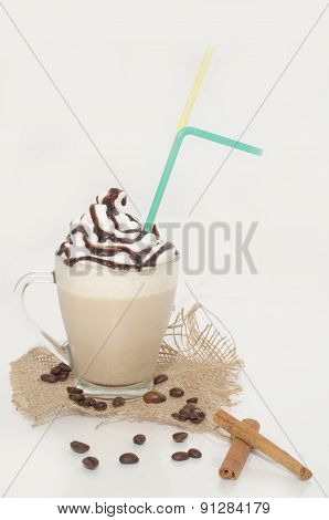Iced Coffee With Foam, Chocolate And Cinnamon On Canvas