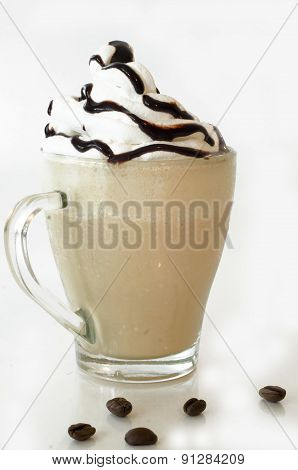 Iced Coffee With Foam And Chocolate Topping