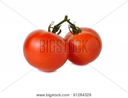 Tomatoes With Stem On White Background