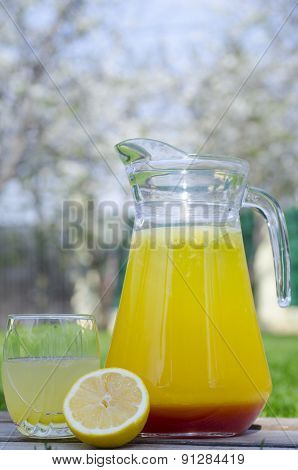 Yellow Lemonade With Red Syrup
