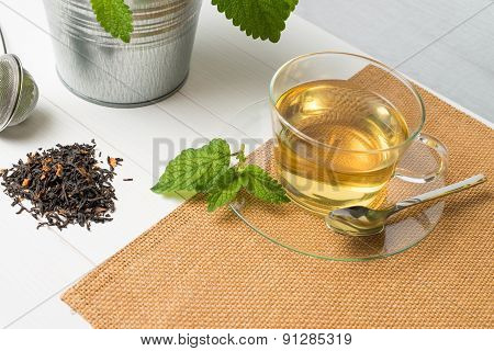 Herbal Tea With Melissa In A Glass Cup