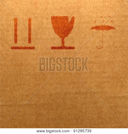 Realistic Background Cardboard Box With Packing Marks