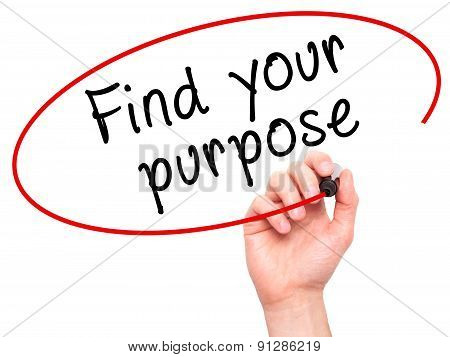 Man Hand writing Find your purpose with marker on transparent wipe board.