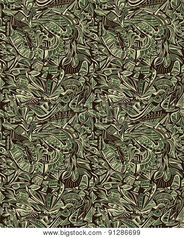 Seamless texture with tribal geometric pattern