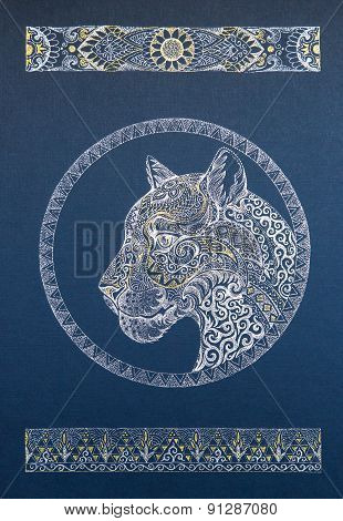 Beautiful Dotwork Snow Leopard, Panther, Cat, With Ornament