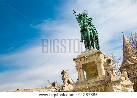 Horse riding statue, Stephen I of Hungary, Fishermen's Bastion, Budapest