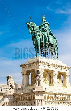 Horse riding statue of Stephen I of Hungary, Fishermen's Bastion, Budapest