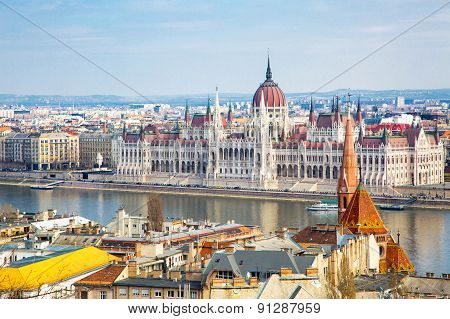View of Hungarian Parliament building from Buda Hill