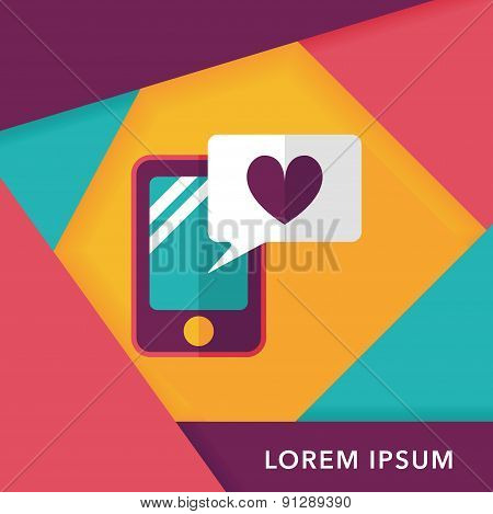 Valentine's Day Message Phone Flat Icon With Long Shadow,eps10