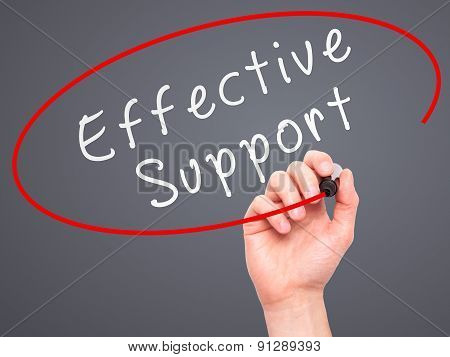 Man Hand writing Effective Support with marker on transparent wipe board.