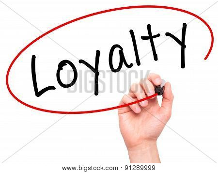 Man Hand writing Loyalty with marker on transparent wipe board.