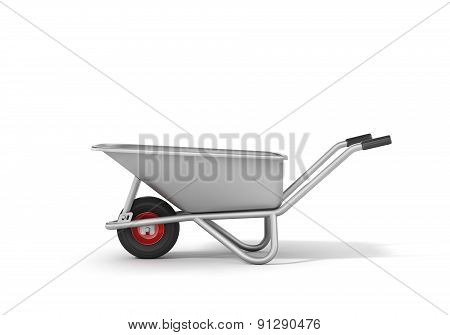 Wheelbarrow On The White Background.